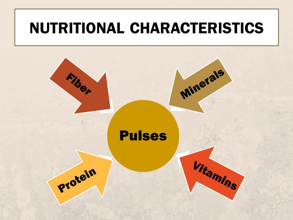 NUTRITIONAL CHARACTERISTICS Pulses Protein Fiber Minerals Vitamins