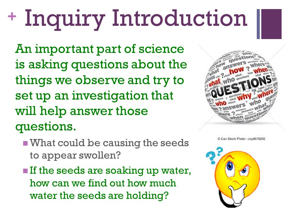 + Inquiry Introduction An important part of science is asking questions about the things we observe and try to set up an investigation that will help answer those questions.