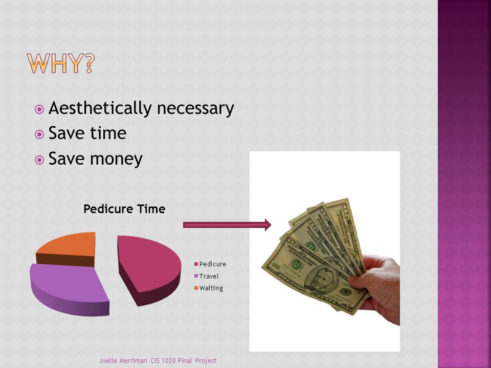  Aesthetically necessary  Save time  Save money Joelle Merriman CIS 1020 Final Project