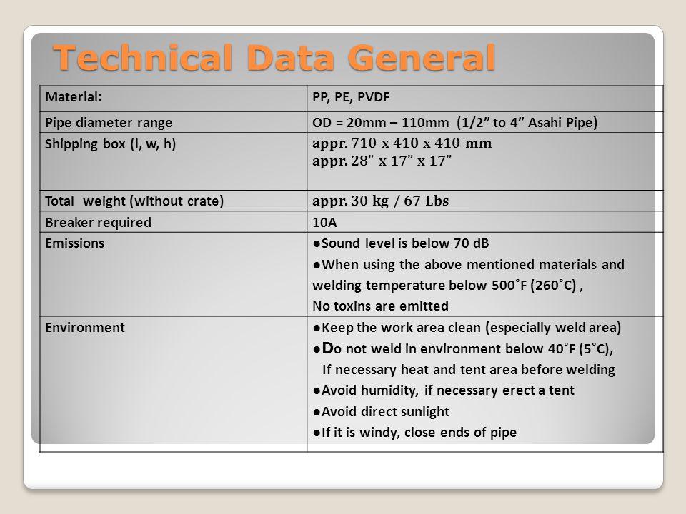 "Technical Data General Material:PP, PE, PVDF Pipe diameter rangeOD = 20mm – 110mm (1/2"" to 4"" Asahi Pipe) Shipping box (l, w, h) appr. 710 x 410 x 410"