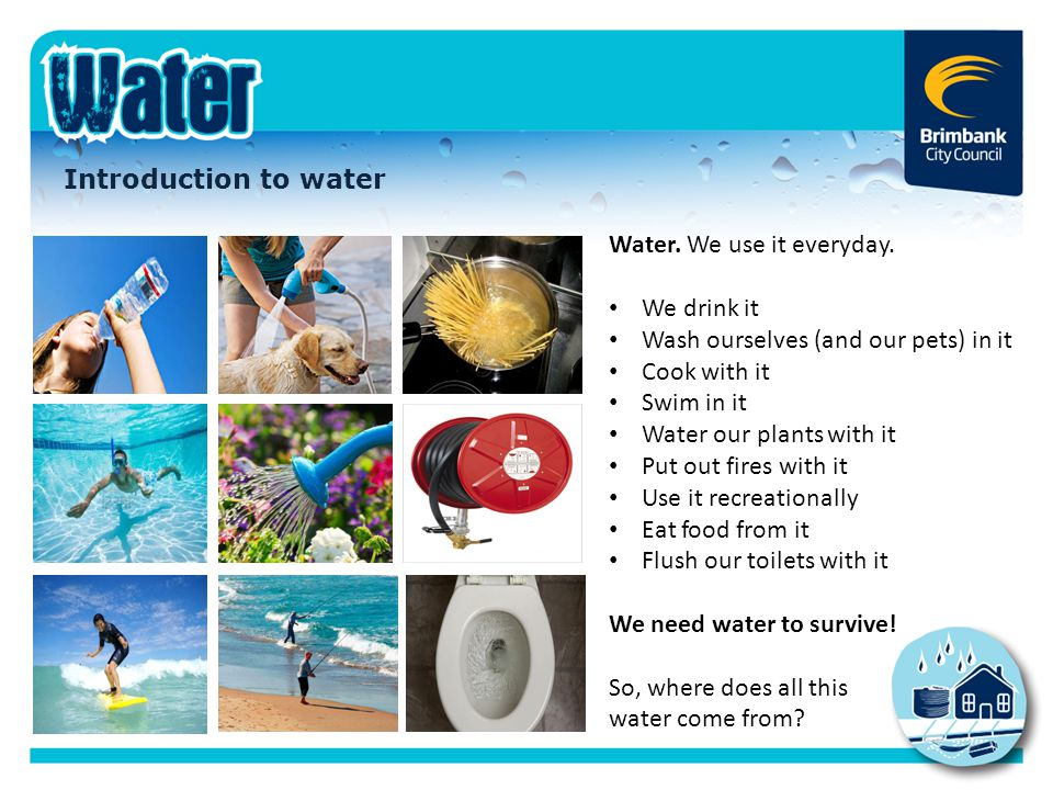 Introduction to water Water. We use it everyday. We drink it Wash ourselves (and our pets) in it Cook with it Swim in it Water our plants with it Put