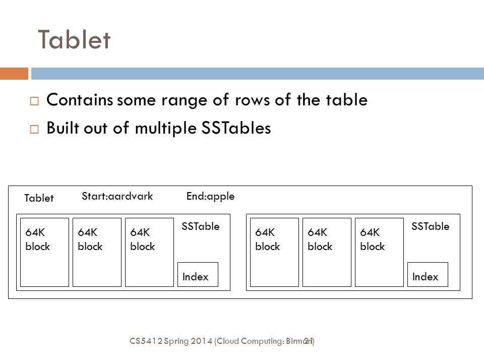 21 Tablet  Contains some range of rows of the table  Built out of multiple SSTables Index 64K block SSTable Index 64K block SSTable Tablet Start:aardvarkEnd:apple CS5412 Spring 2014 (Cloud Computing: Birman)