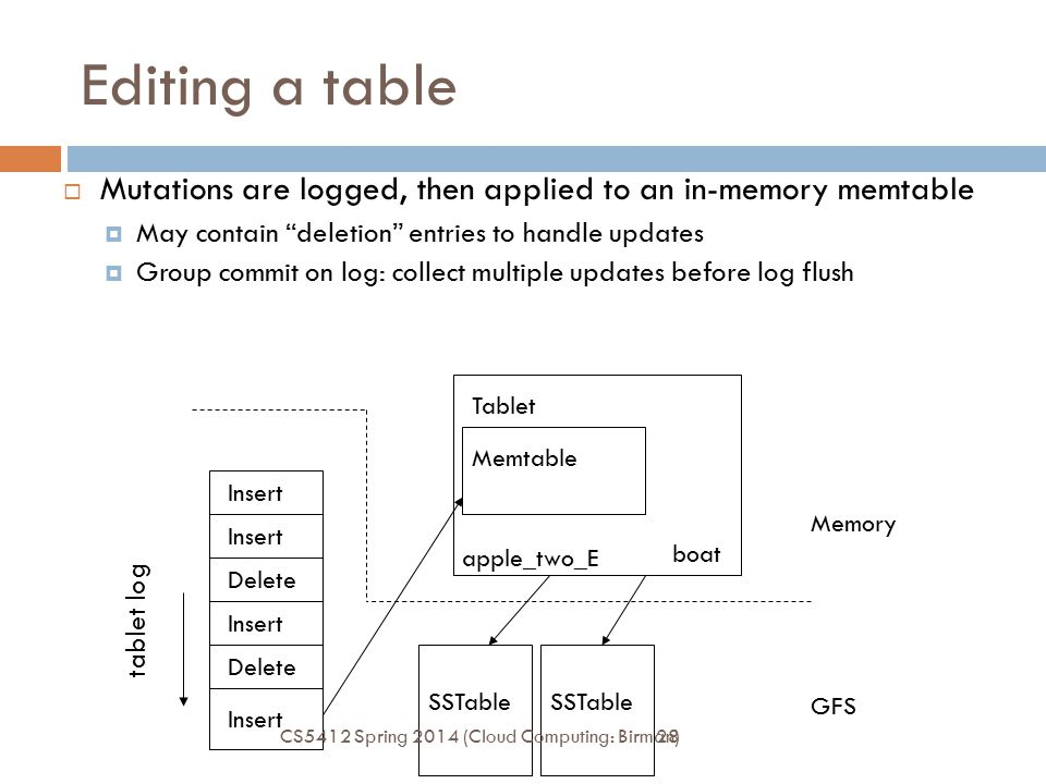 """28 Editing a table  Mutations are logged, then applied to an in-memory memtable  May contain """"deletion"""" entries to handle updates  Group commit on"""