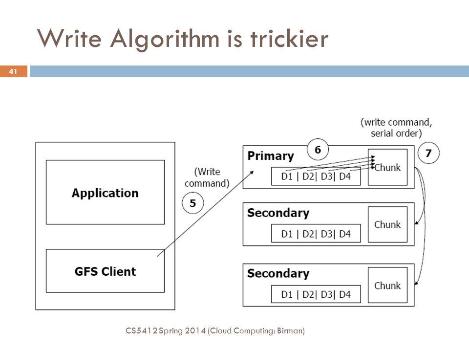 Write Algorithm is trickier CS5412 Spring 2014 (Cloud Computing: Birman) 41