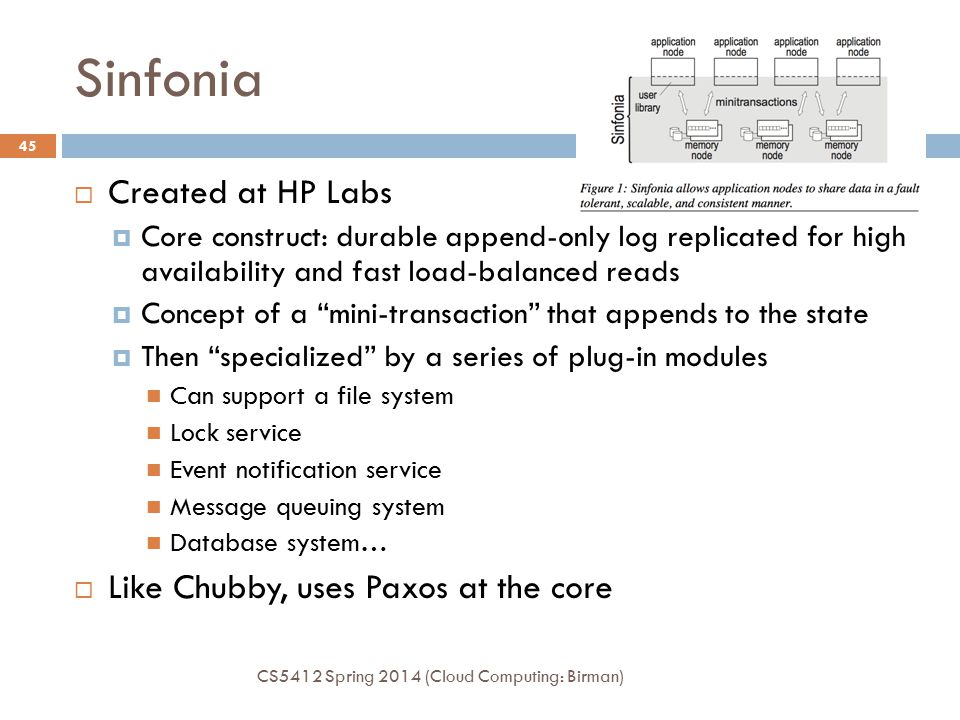 Sinfonia CS5412 Spring 2014 (Cloud Computing: Birman) 45  Created at HP Labs  Core construct: durable append-only log replicated for high availabili