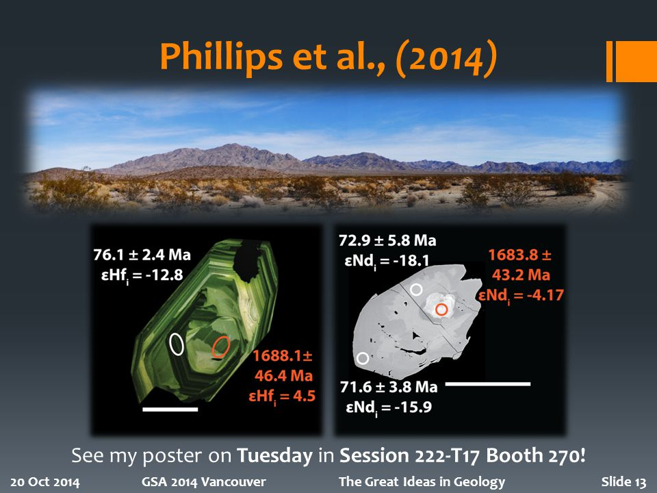 Phillips et al., (2014) 20 Oct 2014GSA 2014 VancouverThe Great Ideas in GeologySlide 13 See my poster on Tuesday in Session 222-T17 Booth 270!