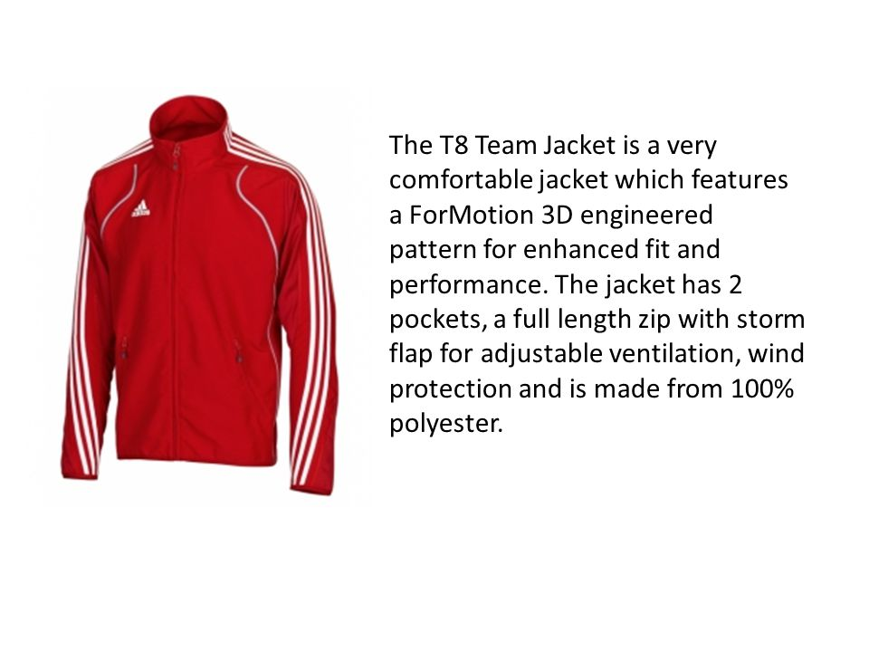 The T8 Team Jacket is a very comfortable jacket which features a ForMotion 3D engineered pattern for enhanced fit and performance. The jacket has 2 po