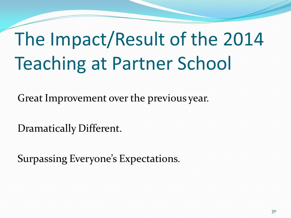 The Impact/Result of the 2014 Teaching at Partner School Great Improvement over the previous year.