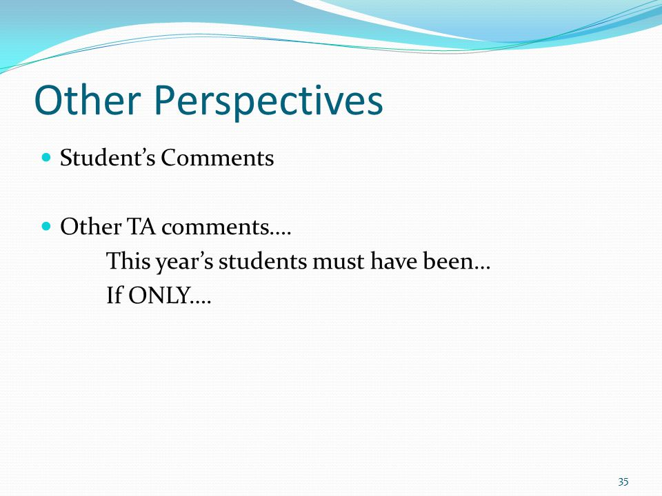 Other Perspectives Student's Comments Other TA comments….
