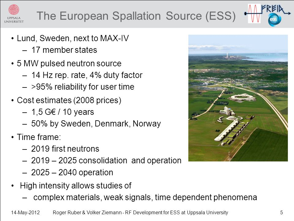 Roger Ruber & Volker Ziemann - RF Development for ESS at Uppsala University5 The European Spallation Source (ESS) Lund, Sweden, next to MAX-IV –17 member states 5 MW pulsed neutron source –14 Hz rep.
