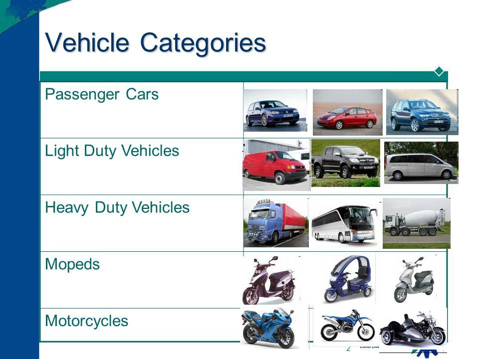 2 Vehicle Categories Passenger Cars Light Duty Vehicles Heavy Duty Vehicles Mopeds Motorcycles