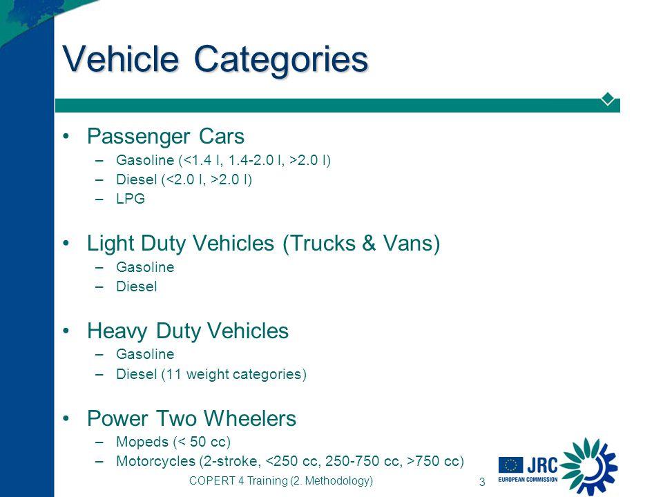 COPERT 4 Training (2. Methodology) 3 Vehicle Categories Passenger Cars –Gasoline ( 2.0 l) –Diesel ( 2.0 l) –LPG Light Duty Vehicles (Trucks & Vans) –G