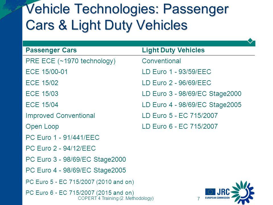 COPERT 4 Training (2. Methodology) 7 Vehicle Technologies: Passenger Cars & Light Duty Vehicles Passenger CarsLight Duty Vehicles PRE ECE (~1970 techn