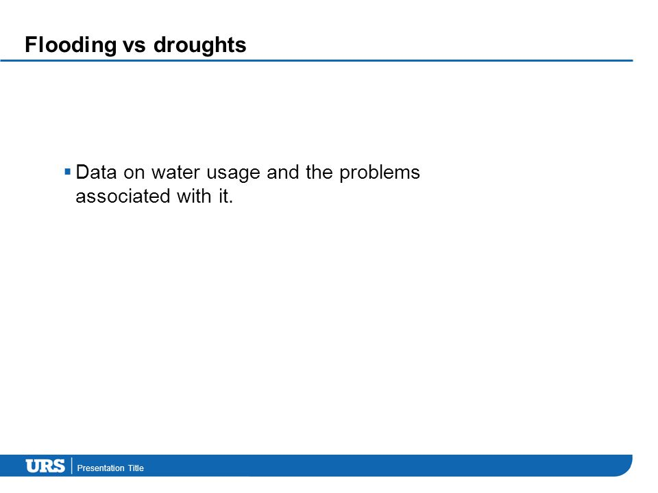 Presentation Title Flooding vs droughts  Data on water usage and the problems associated with it.