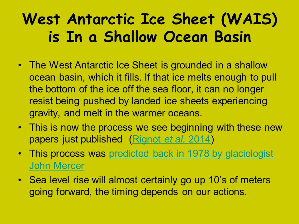 West Antarctic Ice Sheet (WAIS) is In a Shallow Ocean Basin The West Antarctic Ice Sheet is grounded in a shallow ocean basin, which it fills. If that