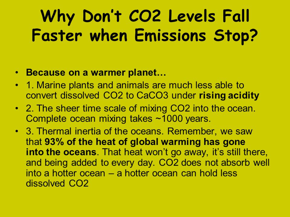 Why Don't CO2 Levels Fall Faster when Emissions Stop? Because on a warmer planet… 1. Marine plants and animals are much less able to convert dissolved