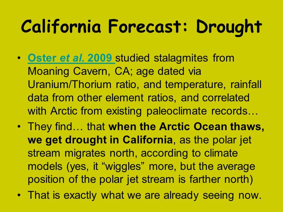 California Forecast: Drought Oster et al. 2009 studied stalagmites from Moaning Cavern, CA; age dated via Uranium/Thorium ratio, and temperature, rain