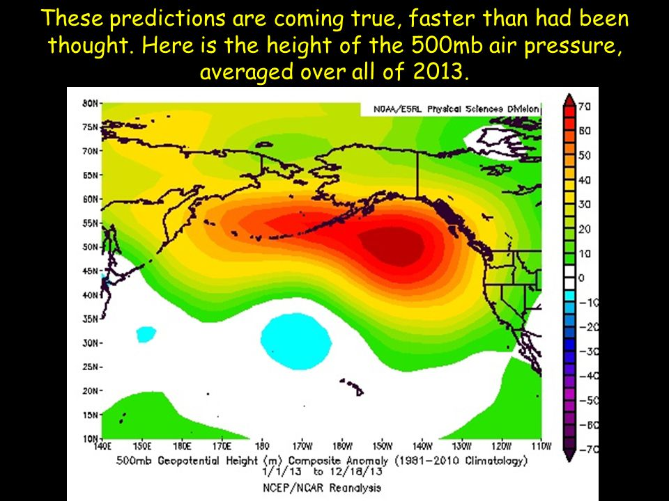 These predictions are coming true, faster than had been thought. Here is the height of the 500mb air pressure, averaged over all of 2013.