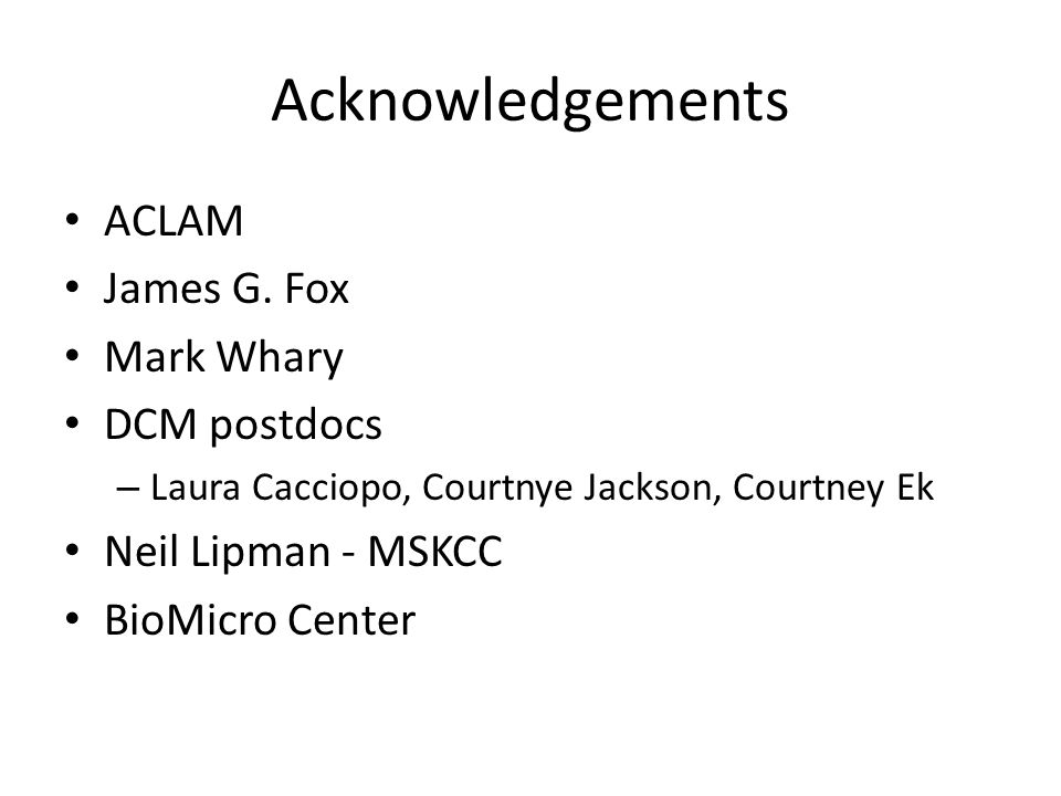 Acknowledgements ACLAM James G.