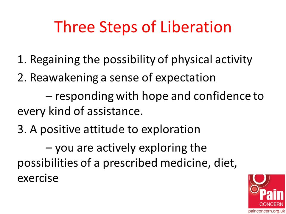 Three Steps of Liberation 1. Regaining the possibility of physical activity 2.