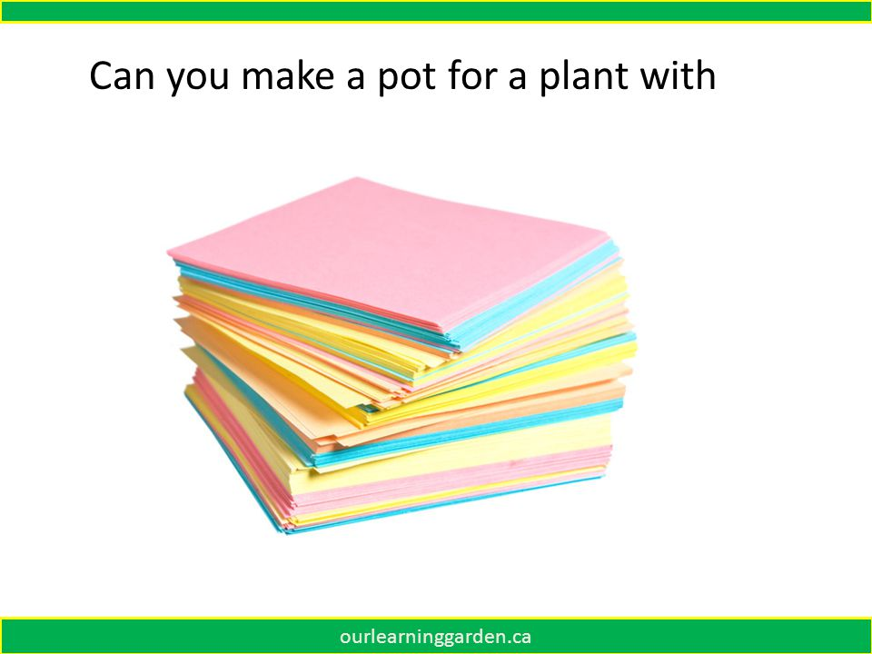 ourlearninggarden.ca Can you make a pot for a plant with