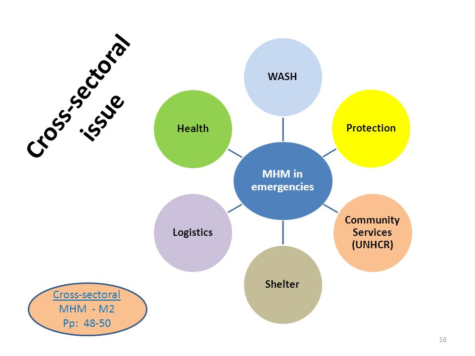 Cross-sectoral issue MHM in emergencies WASHProtection Community Services (UNHCR) ShelterLogisticsHealth 16 Cross-sectoral MHM - M2 Pp: 48-50
