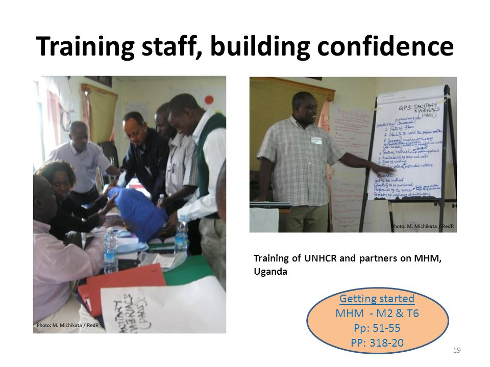 Training staff, building confidence Training of UNHCR and partners on MHM, Uganda 19 Getting started MHM - M2 & T6 Pp: 51-55 PP: 318-20