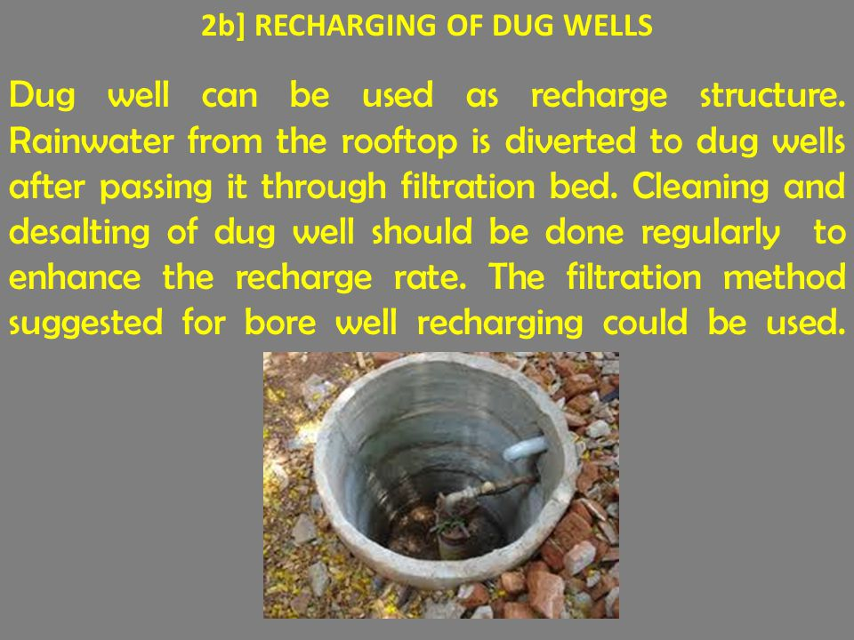 2b] RECHARGING OF DUG WELLS Dug well can be used as recharge structure.