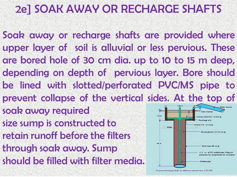 2e] SOAK AWAY OR RECHARGE SHAFTS Soak away or recharge shafts are provided where upper layer of soil is alluvial or less pervious.