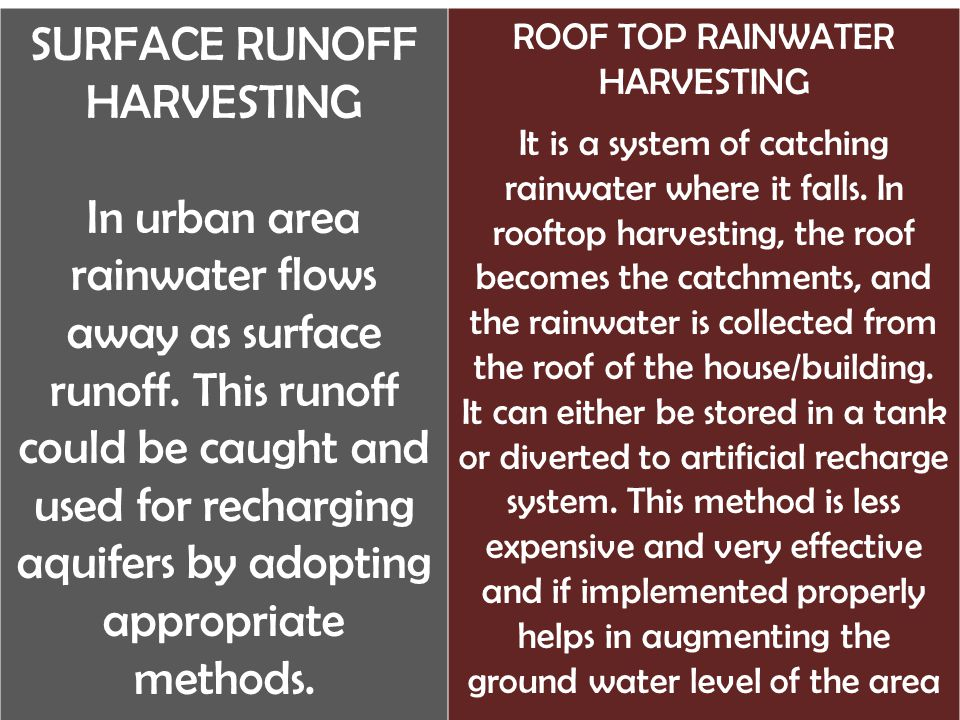 SURFACE RUNOFF HARVESTING In urban area rainwater flows away as surface runoff.