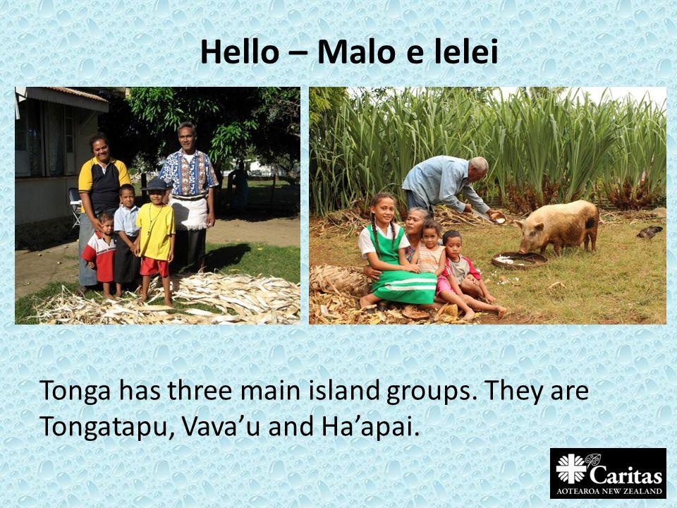 Hello – Malo e lelei Tonga has three main island groups. They are Tongatapu, Vava'u and Ha'apai.