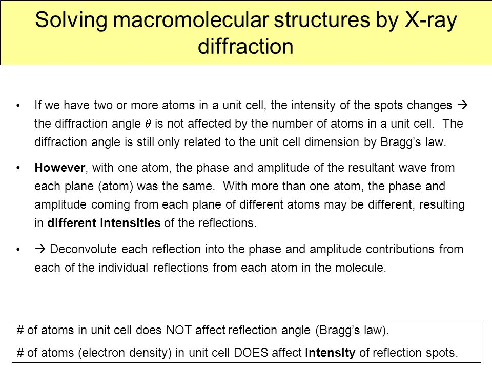 Solving macromolecular structures by X-ray diffraction If we have two or more atoms in a unit cell, the intensity of the spots changes  the diffracti