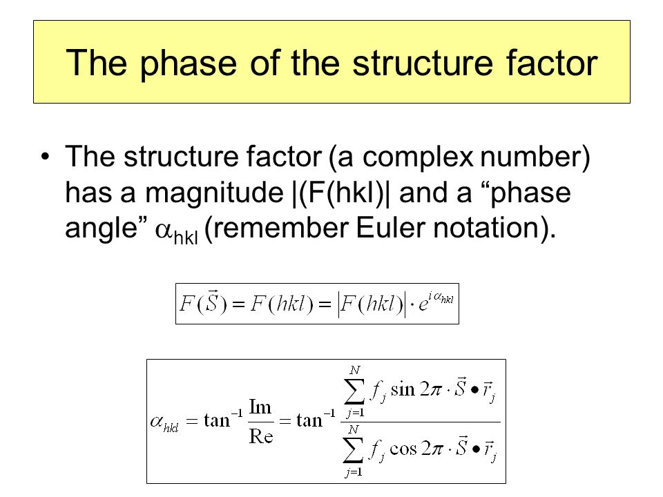 """The phase of the structure factor The structure factor (a complex number) has a magnitude  (F(hkl)  and a """"phase angle""""  hkl (remember Euler notation"""