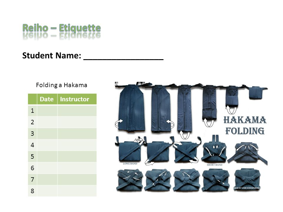 Student Name: _________________ DateInstructor 1 2 3 4 5 6 7 8 Folding a Hakama
