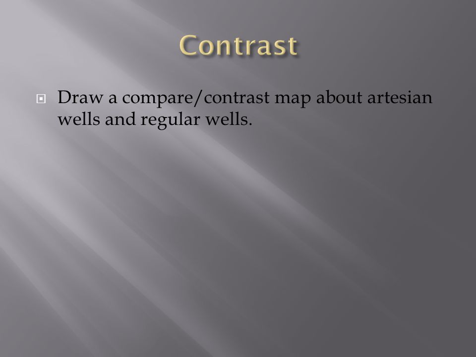  Draw a compare/contrast map about artesian wells and regular wells.
