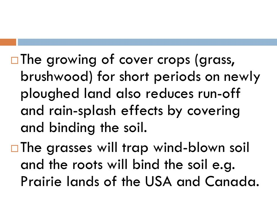  The growing of cover crops (grass, brushwood) for short periods on newly ploughed land also reduces run-off and rain-splash effects by covering and