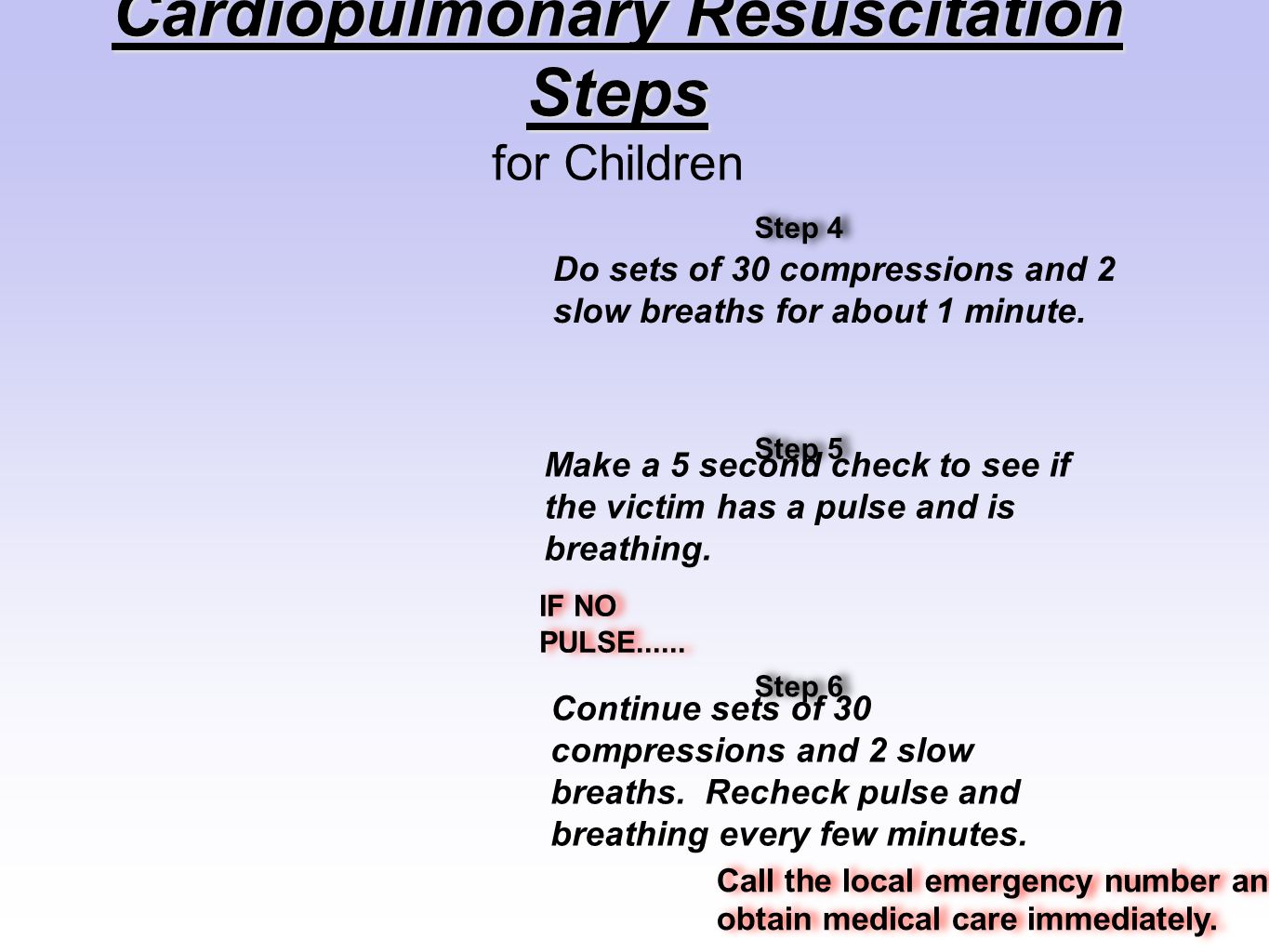 Cardiopulmonary Resuscitation Steps for Children Do sets of 30 compressions and 2 slow breaths for about 1 minute. Make a 5 second check to see if the