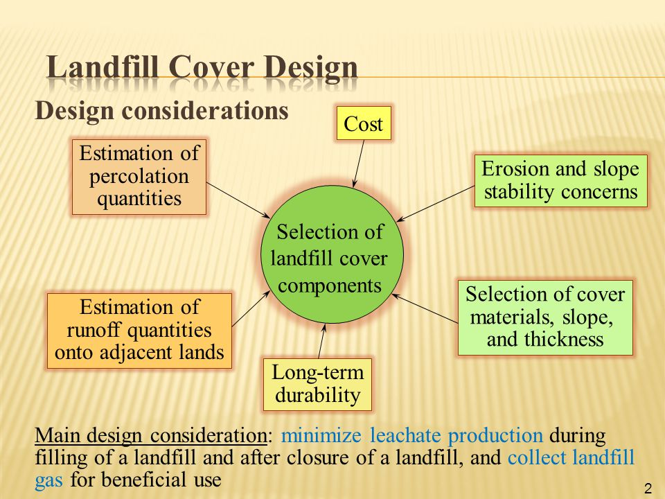 Design considerations Selection of landfill cover components Cost Erosion and slope stability concerns Selection of cover materials, slope, and thickn