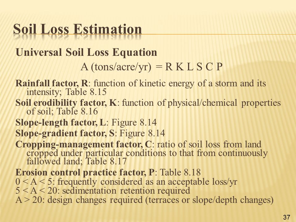 Universal Soil Loss Equation A (tons/acre/yr) = R K L S C P Rainfall factor, R: function of kinetic energy of a storm and its intensity; Table 8.15 So