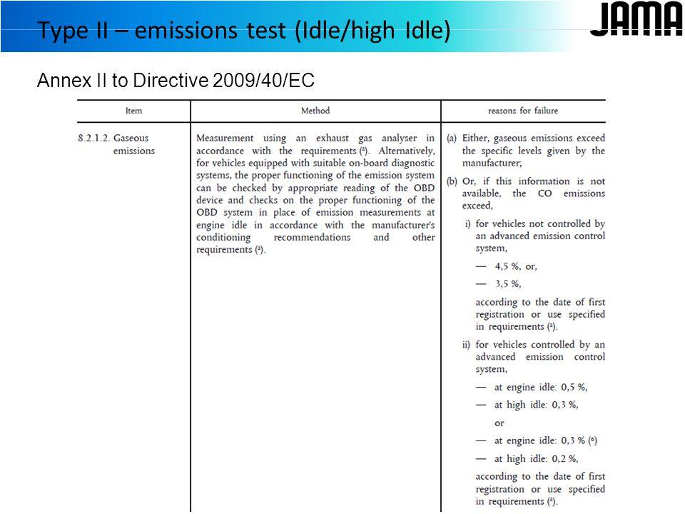 Annex II to Directive 2009/40/EC Type II – emissions test (Idle/high Idle)