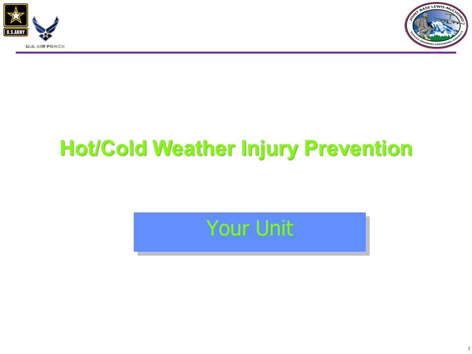 1 Hot/Cold Weather Injury Prevention Your Unit