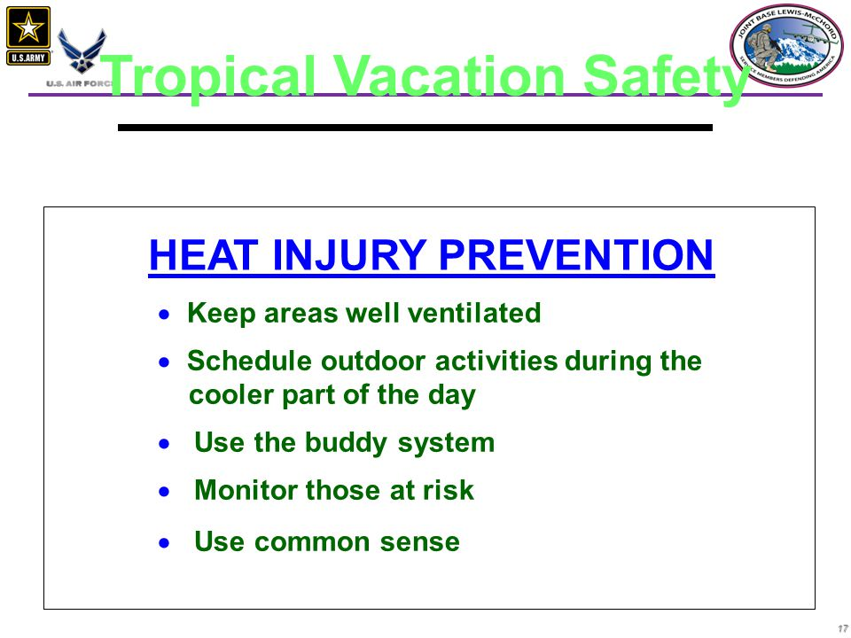 17   Keep areas well ventilated   Schedule outdoor activities during the cooler part of the day   Use the buddy system   Monitor those at risk   Use common sense HEAT INJURY PREVENTION Tropical Vacation Safety
