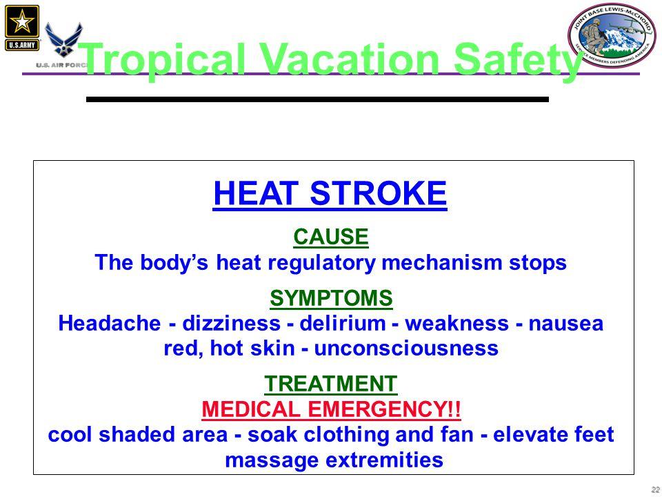 22 CAUSE The body's heat regulatory mechanism stops SYMPTOMS Headache - dizziness - delirium - weakness - nausea red, hot skin - unconsciousness TREAT