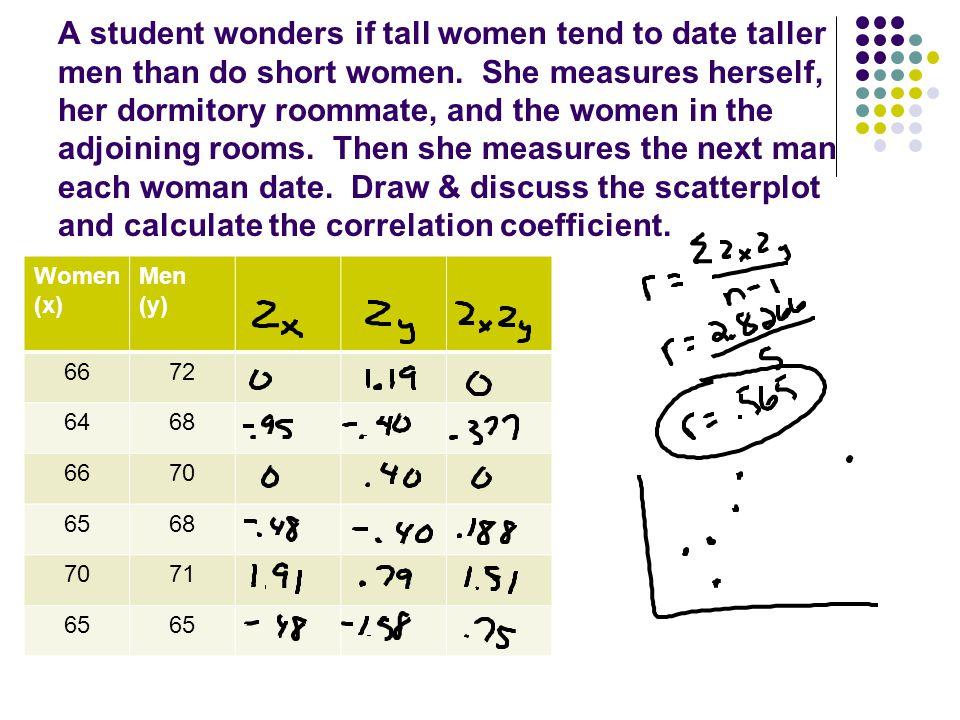 A student wonders if tall women tend to date taller men than do short women.