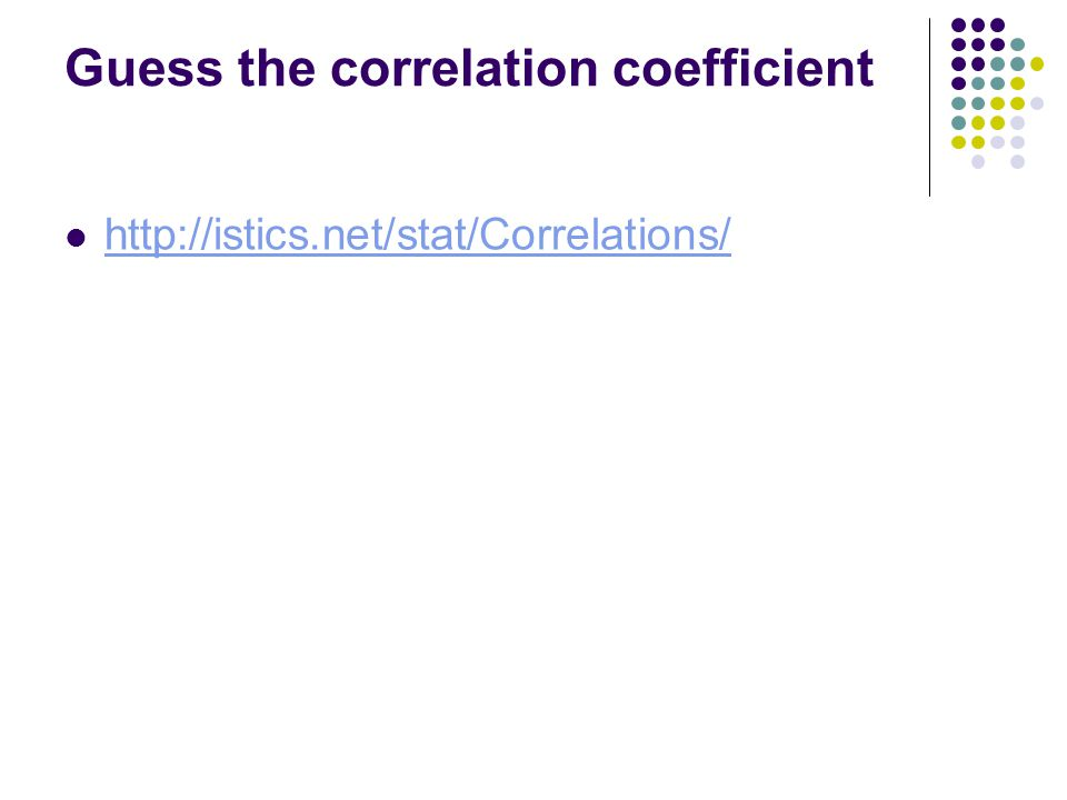 Guess the correlation coefficient http://istics.net/stat/Correlations/