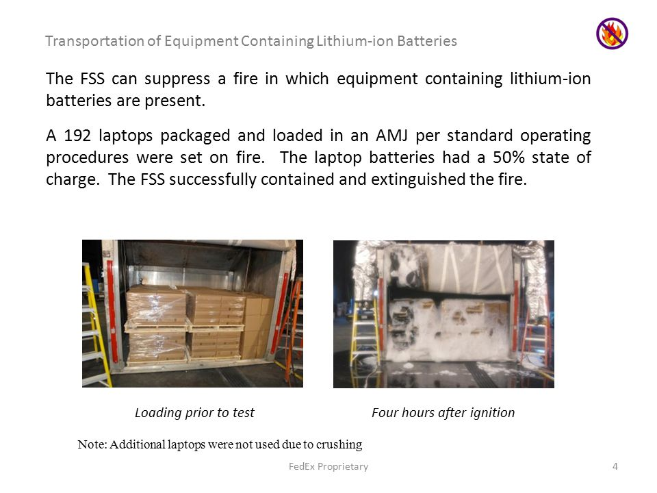 FedEx Proprietary4 Transportation of Equipment Containing Lithium-ion Batteries The FSS can suppress a fire in which equipment containing lithium-ion batteries are present.
