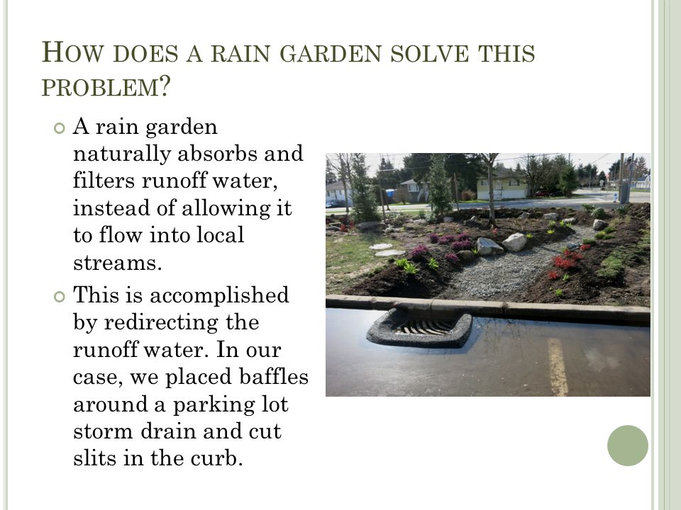 H OW DOES A RAIN GARDEN SOLVE THIS PROBLEM .