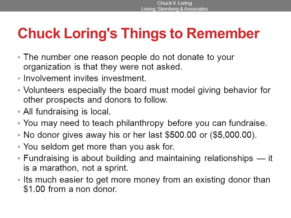 The Donor Pyramid Chuck V. Loring Loring, Sternberg & Associates
