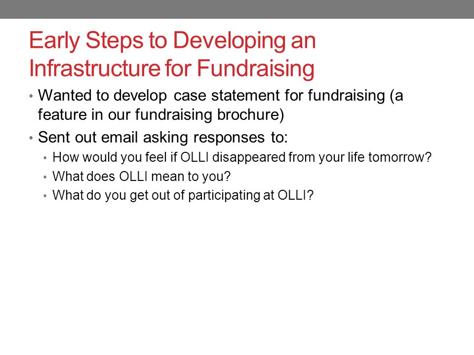 Early Steps to Developing an Infrastructure for Fundraising After we received the grant, held two focus groups.