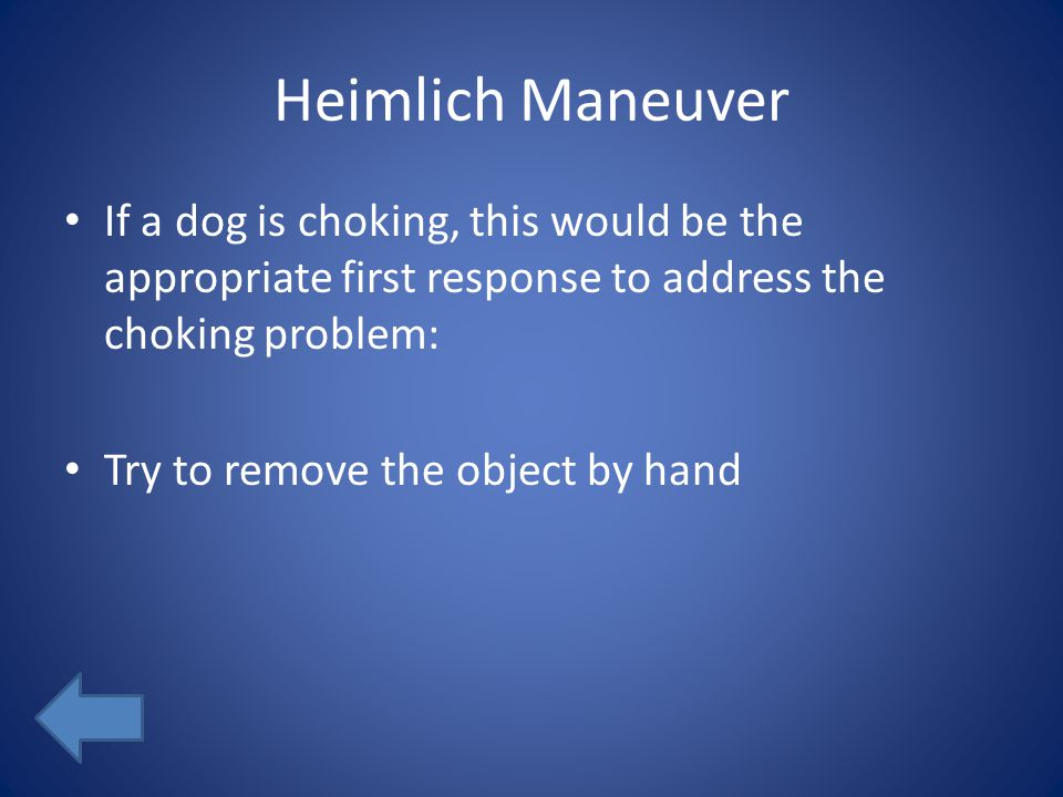 Heimlich Maneuver If a dog is choking, this would be the appropriate first response to address the choking problem: Try to remove the object by hand